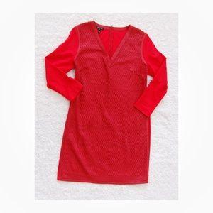 Escada Red Textured Front Sheath Dress Sz 42 L